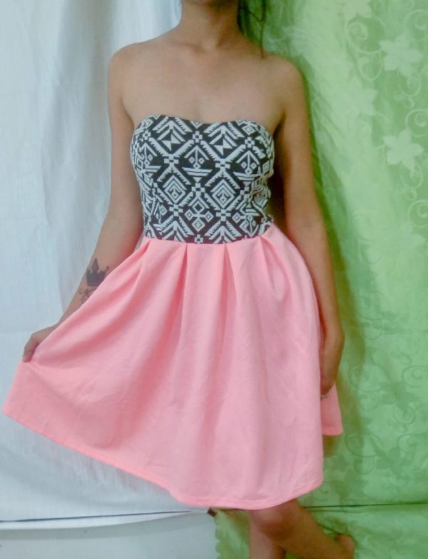 Pink and black combination short dress for Girls